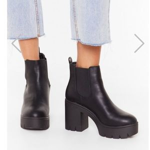 Chunky platform booties heels
